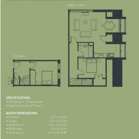 SPECIFICATION • 2 bedroom - 1 bathroom • Apartment size: 871 sq ft