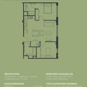 SPECIFICATION • 2 bedrooms - 1 bathroom - 1 ensuite • Apartment size: 721 sq ft